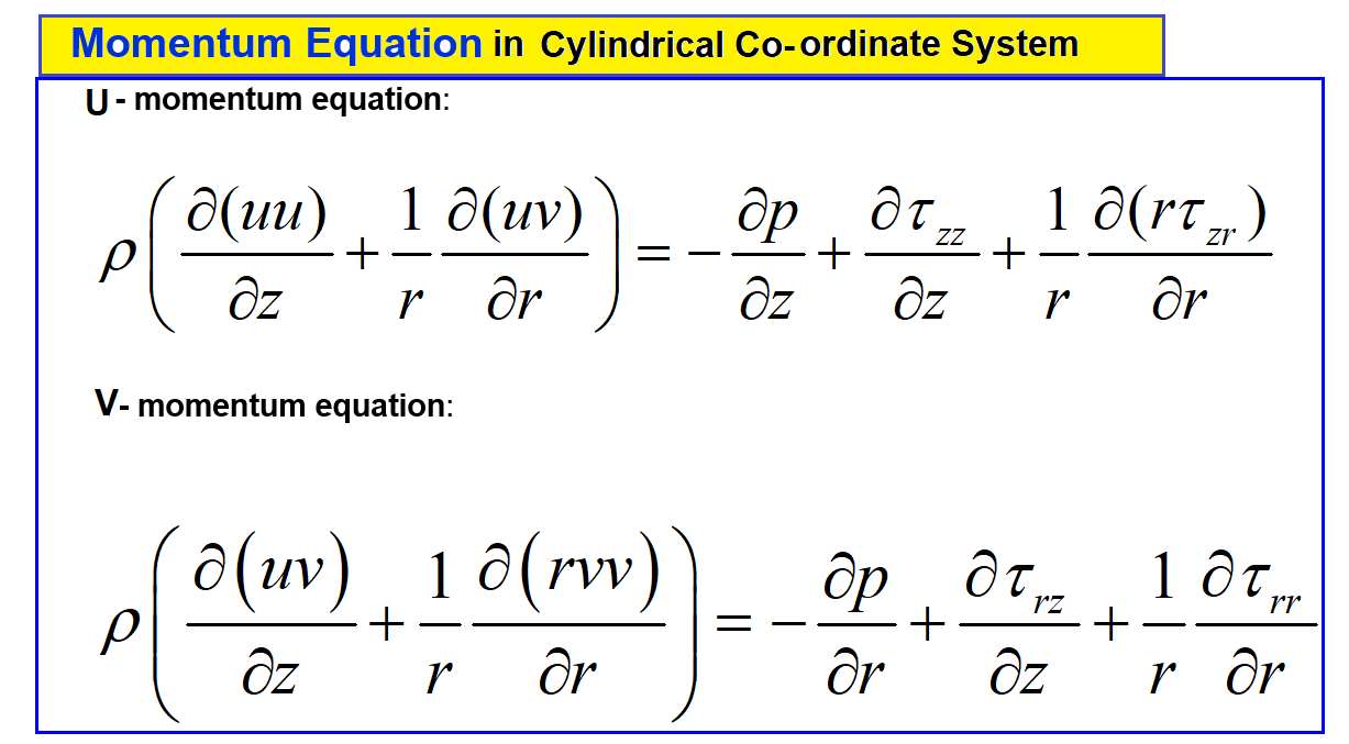 momentum conservations_ equation for axis symmetric pipe